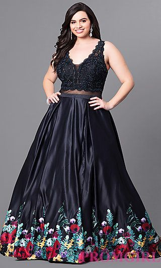 ed1b365df85 Plus Size V-Neck Long Print Trim Prom Dress in 2019