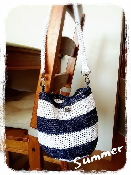 84304793b285 エコアンダリヤのボーダーミニバッグの作り方|編み物|編み物・手芸・ソーイング|ハンドメイド | アトリエ