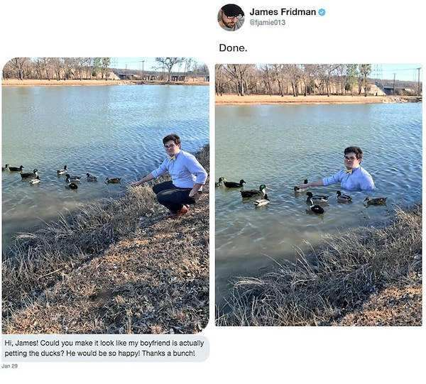 Photo of Asking James Fridman for photoshop help is a slippery slope (36 Photos)