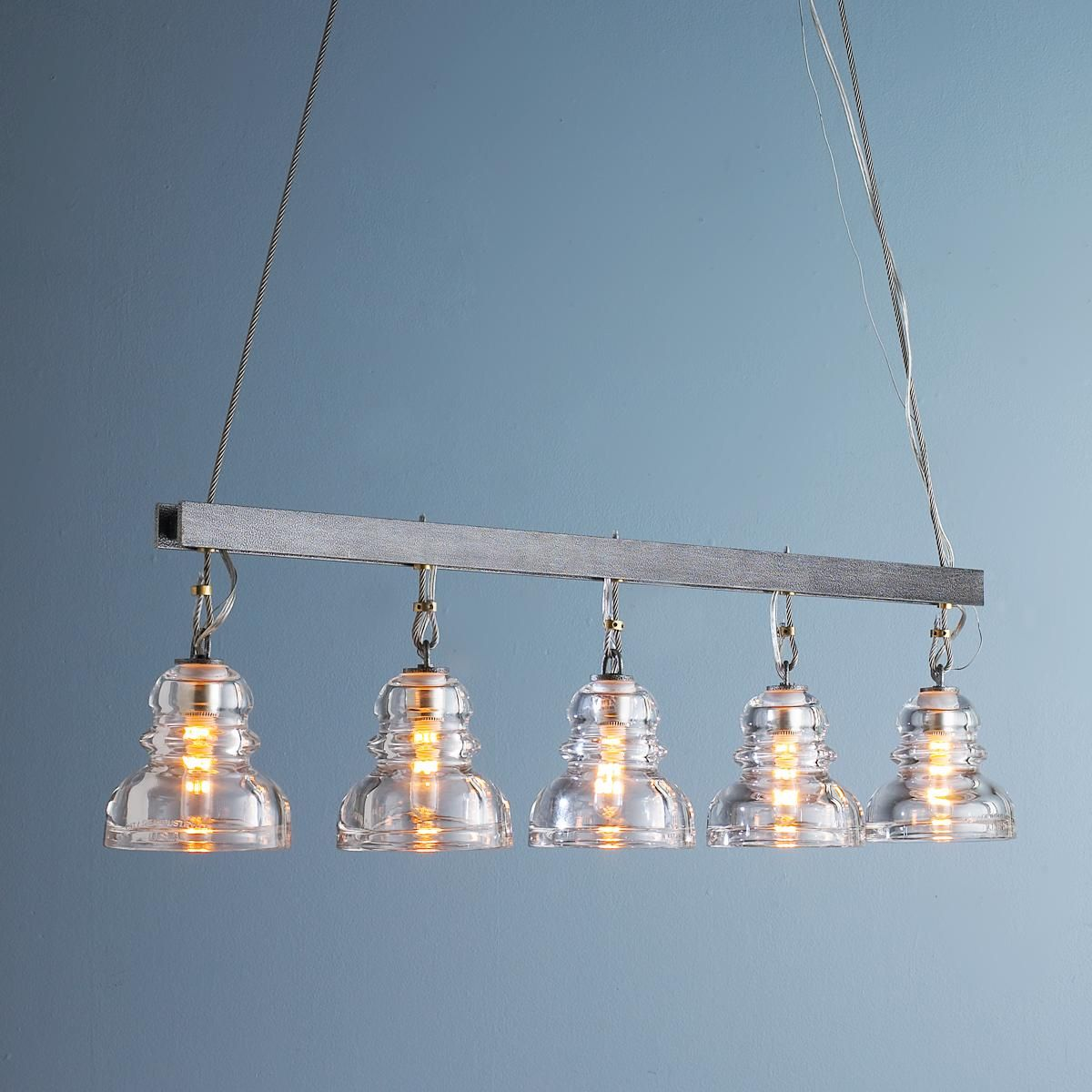 Reproduction Insulator Glass Island Chandelier | Island kitchen ...