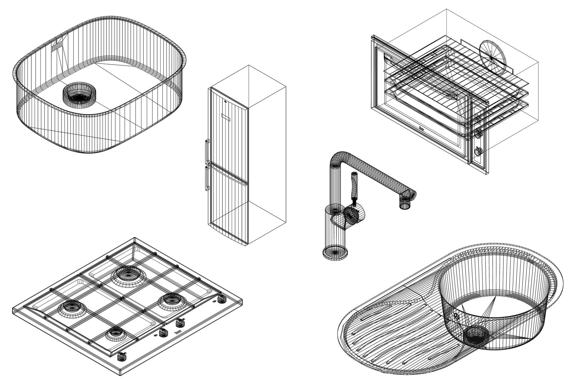 Kitchen Design Dwg stoves, sinks, and refrigerators: downloadable cad blocks for