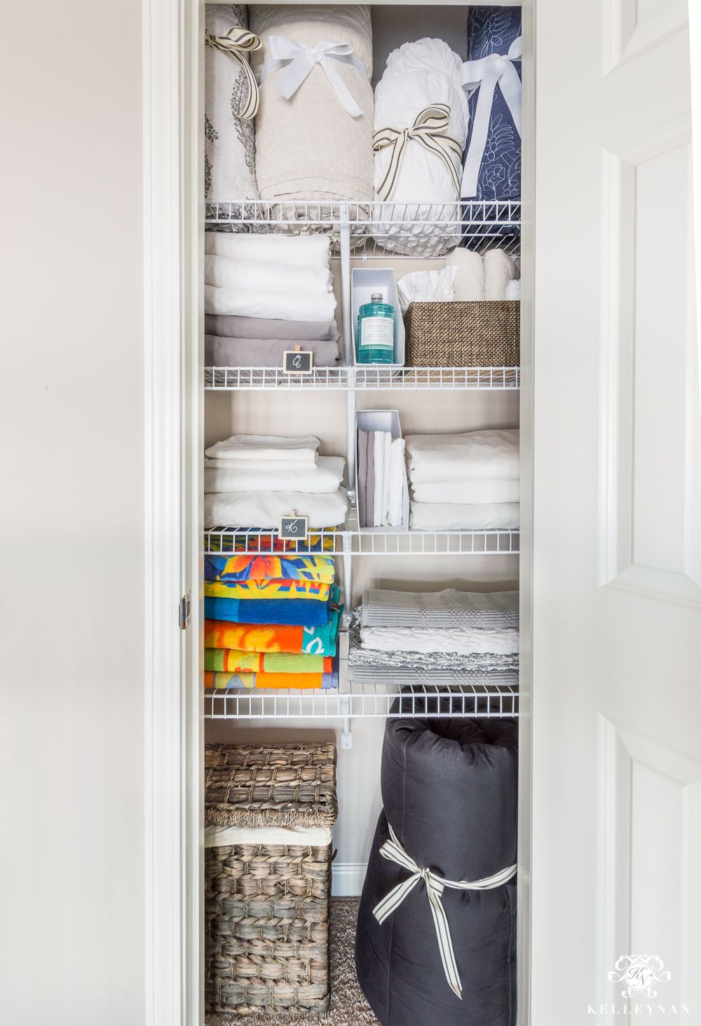 A Small Organized Linen Closet And Ideas To Bulky Bedding Kelley Nan