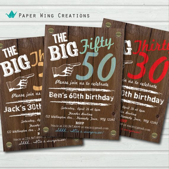 Man 50th Birthday Invitation Rustic Wood Adult Invite Graffiti Surprise Party The Big Sixty 50 Printable AB39