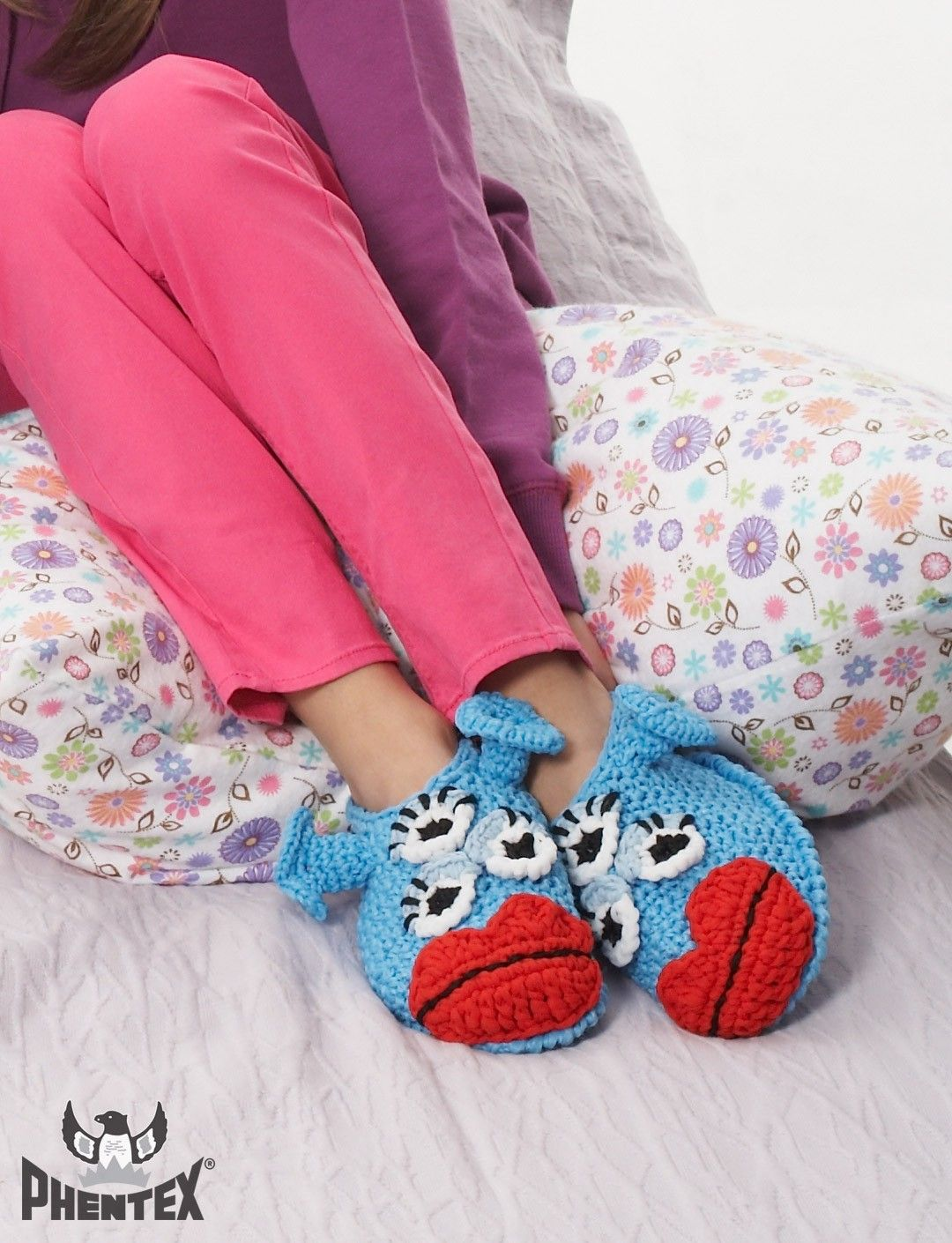 Blue Meanie Monster Slippers - Free Crochet Pattern - (yarnspirations)