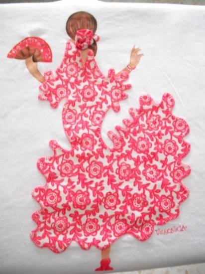 Camiseta flamenca camiseta hecha a mano appliqu for Aplicaciones para decorar
