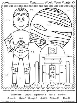 star wars math may the facts be with you 6 color by the code math puzzle printables use the childrens love of star wars to practice basic addition and