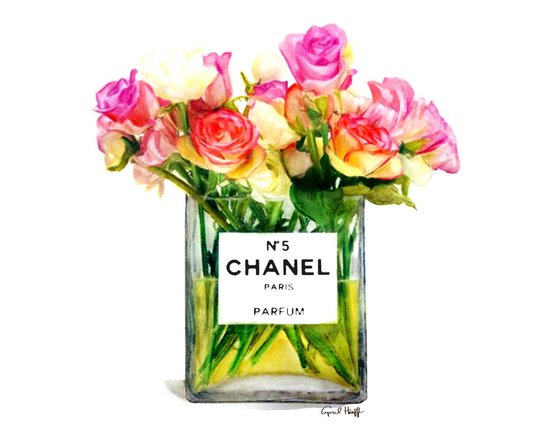 chanel roses perfume print fashion illustration by