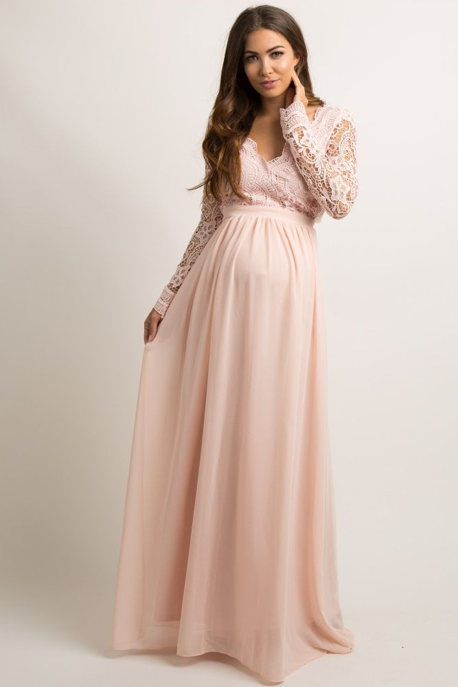 Light Pink Scalloped Crochet Chiffon Maternity Evening Gown | Gowns ...
