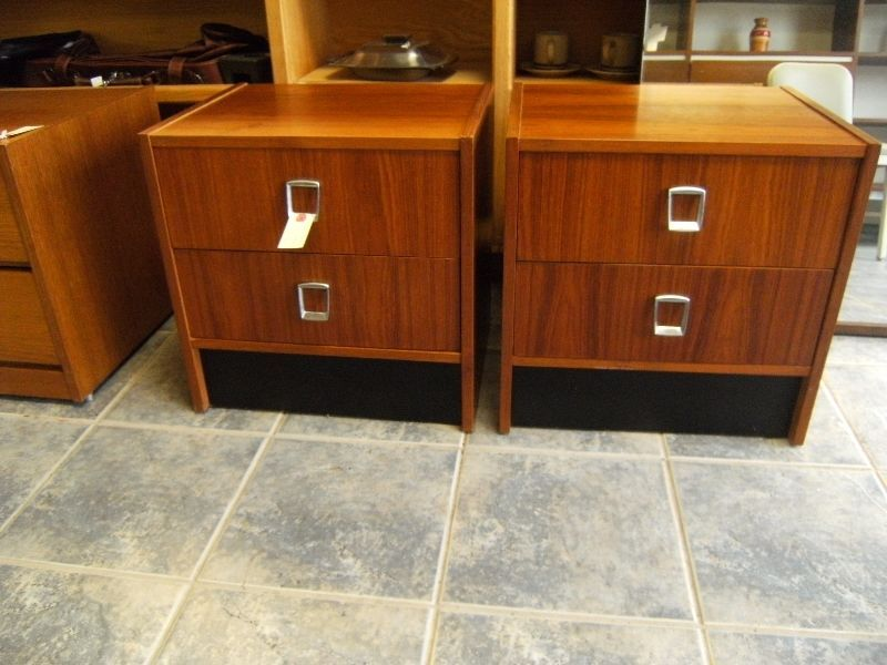 pair of burma teak night stands. two drawers for storage ...