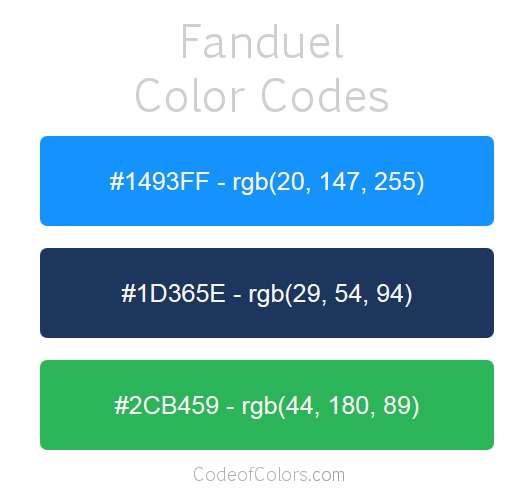 Hex And Rgb Color Codes Used By Fanduel  Popular Website Colors