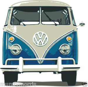Front View Vw Camper Van Iron On T Shirt Transfer A5 Light