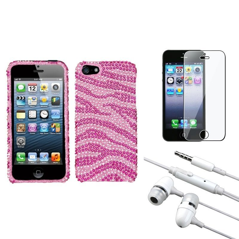 Insten Clear Screen Protector/ Headset/ Diamante Phone Case for Apple iPhone 5/ 5C/ 5S/ SE, #1150910