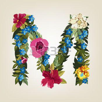Romantic Floral Letter M Flower Art Pressed Flower Art Floral Letters