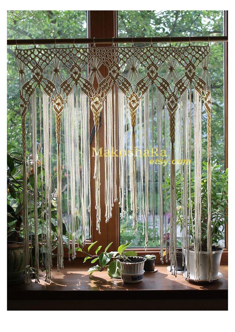 Macrame wall art.Macrame Curtain.Macrame Wall Hanging.Window | Etsy