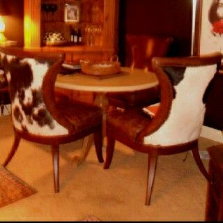 cowhide/leather comfy dining chairs