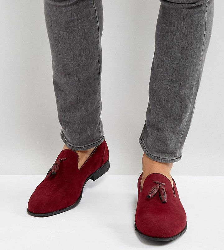 005482c5fcc ASOS Wide Fit Loafers In Burgundy Faux Suede