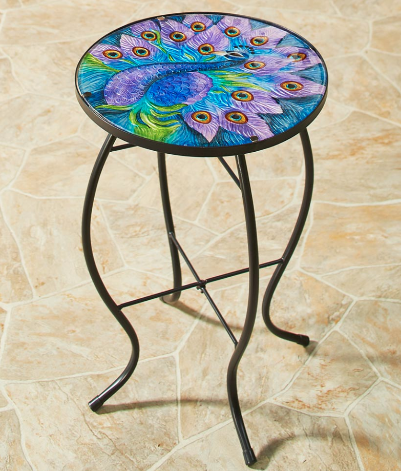 outdoor round side table accent peacock