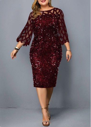 Photo of Plus Size Sequin Embellished Three Quarter Sleeve Dress | modlily.com – USD $34….