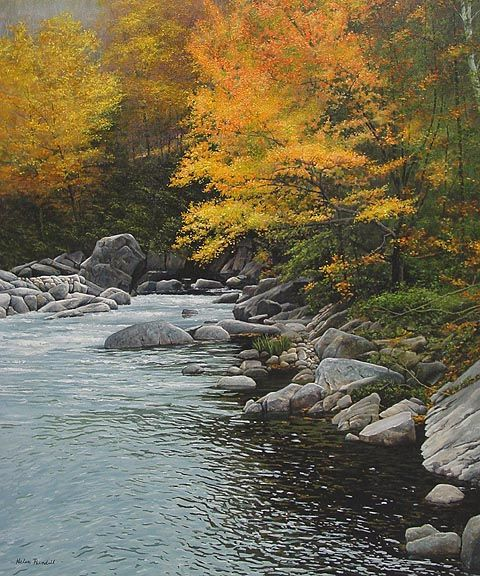 This is actually an Oil Painting - Brookside, Fall - painting by Helen Rundell - Amazing!!