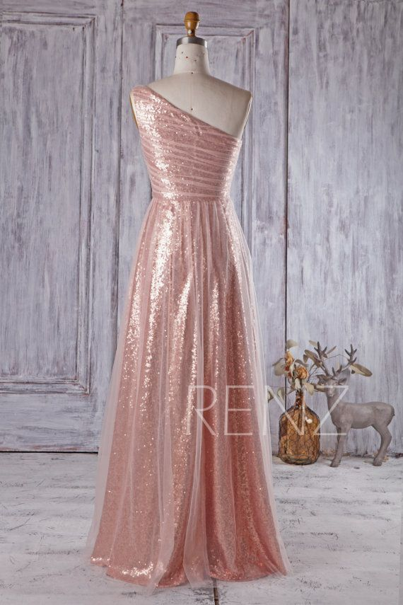 Bridesmaid Dress Peac Tulle Rose Gold Sequin Wedding Dress,One ...