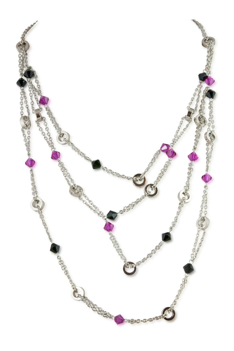 "Alzerina 19"" 14k Gold Plated Crystal Necklace in Jet and Fuchsia - Beyond the Rack"