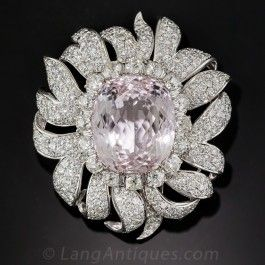 Large Kunzite and Diamond Clip Brooch, Circa 1950s - Antique & Vintage Pins and Brooches - Vintage Jewelry