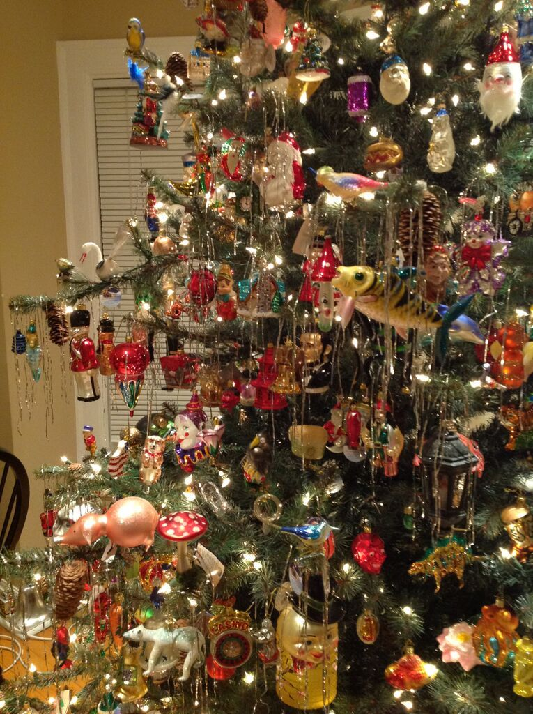todays christmas trees decorated with newer glass ornaments made to sell