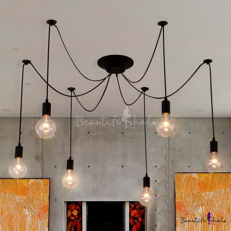 6 Light Edison Spider Multi Light Pendant In Black Industrial