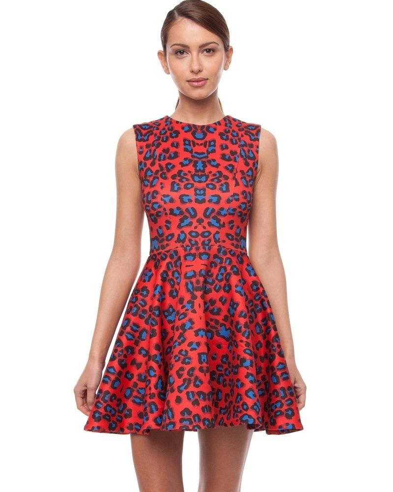 NICHOLAS - Red Leopard Skater Dress, $249.00 by The Label ...