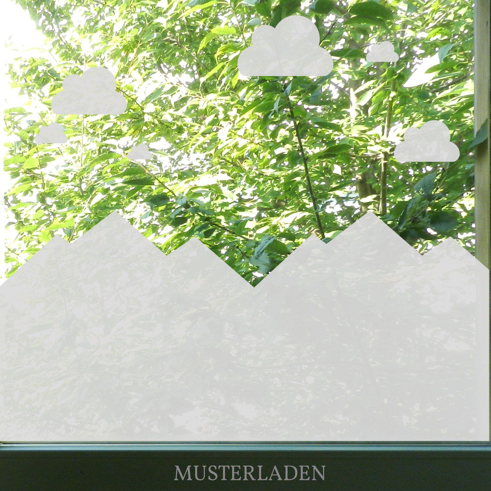 Dekorative Fensterfolie Mit Bergen Und Wolken Fenstertattoos Mit
