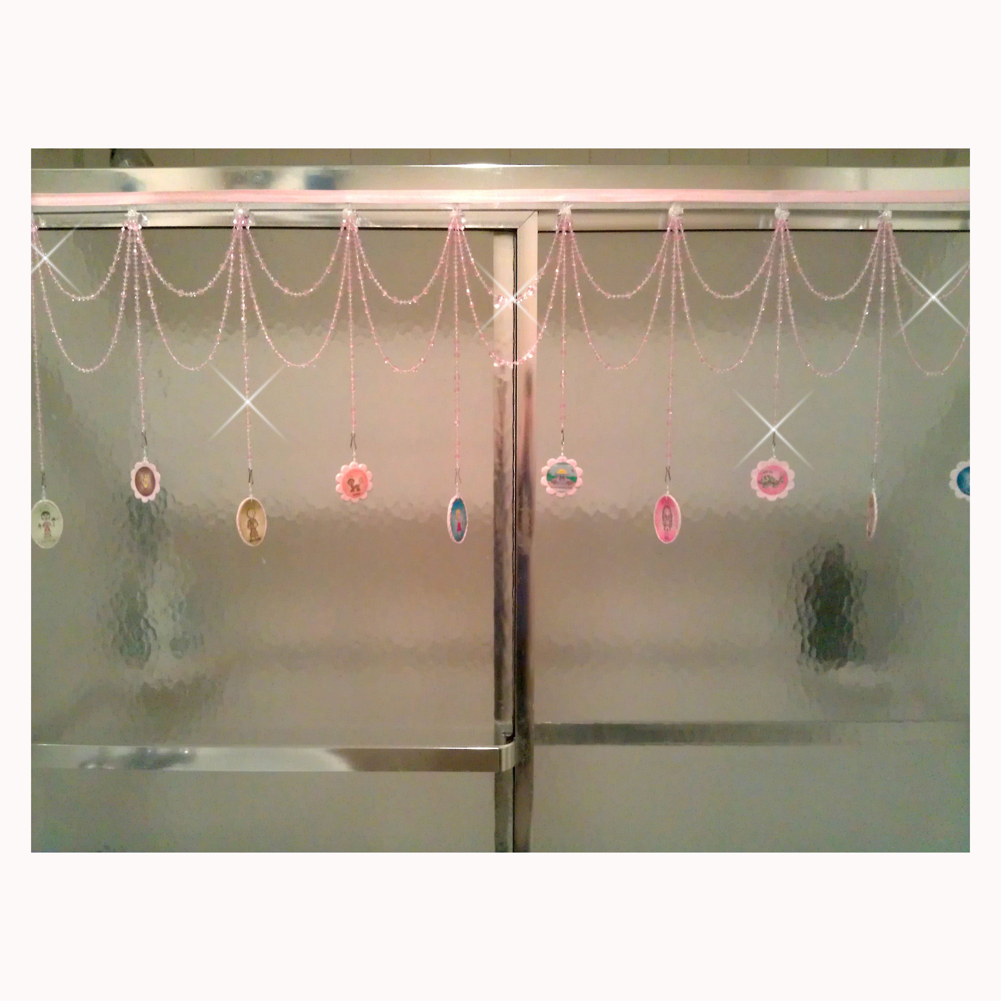 Pink Beaded Shower Door Bling With Dandelions Soup Shower Curtain