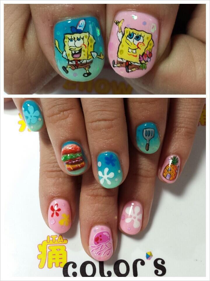 Color Sすみな西山 On Twitter Spongebob Nail Art Spongebob Nails Nail Art Diy