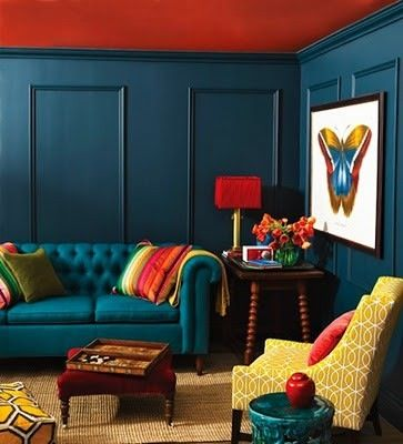 Dark Peacock Blue With Gold And A Hit Of Dull Red Orange Colorful Living Room Design Colourful Living Room House Interior