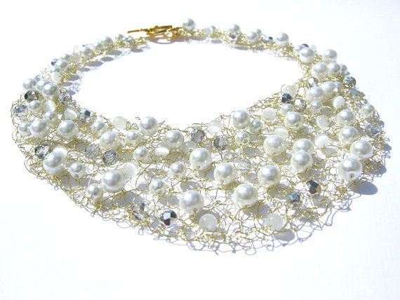 Crystal White Bib Necklace, Knitted Wire Bead Jewelry,