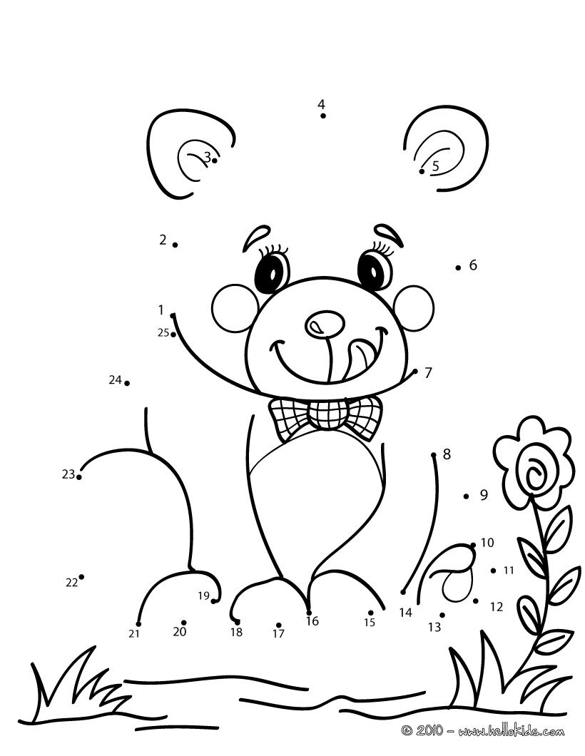 Teddy bear dot to dot game printable connect the dots game