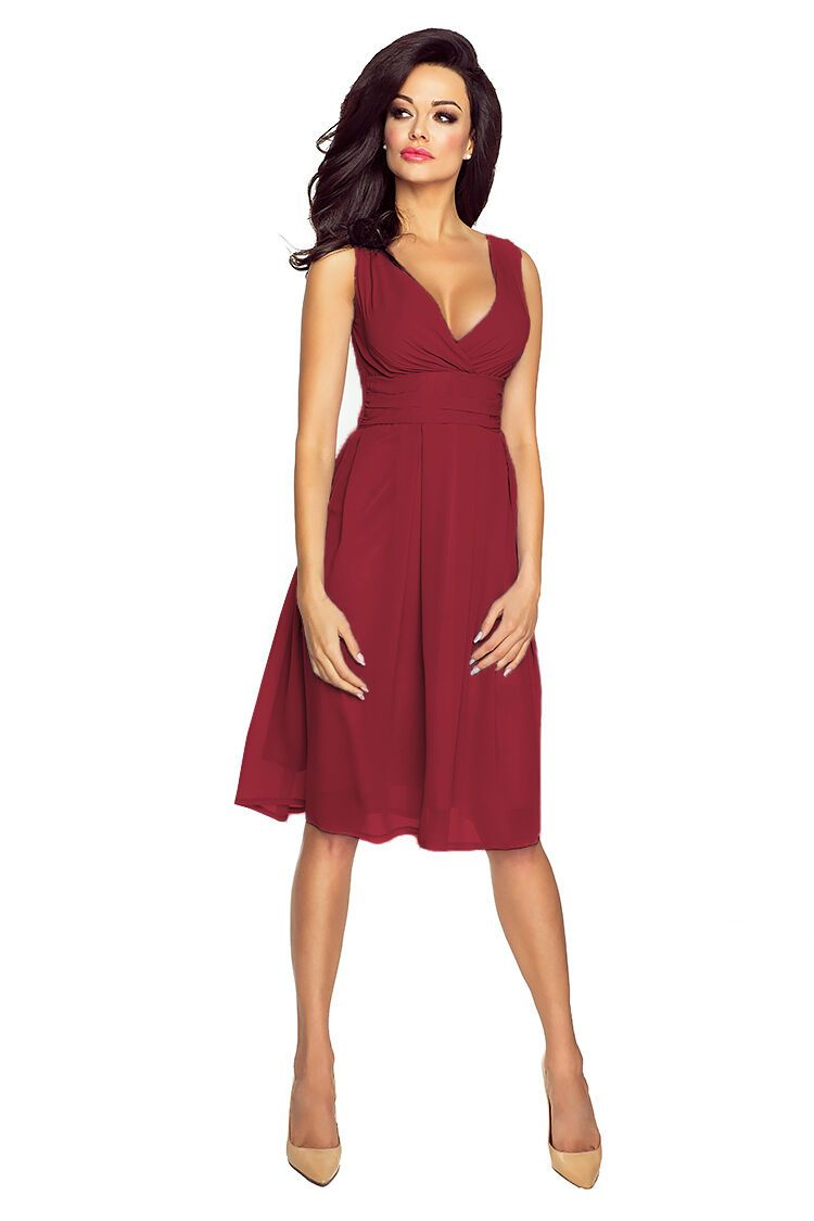 VictoriaV - Chiffonkleid Cocktailkleid knielang Bordeaux / Weinrot