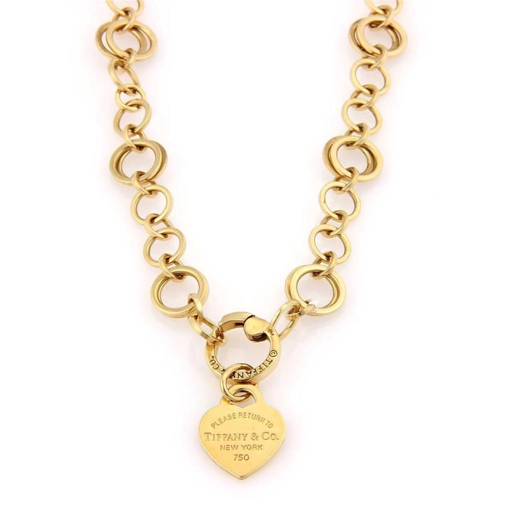 4732d2239 Tiffany Co 18K Yellow Gold Multi Links Heart Return to Tiffany Charm  Necklace | eBay
