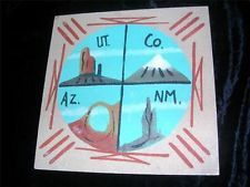 Signed Navajo Sand Painting  of 4 Corners USA =  UT/CO/AZ./NM