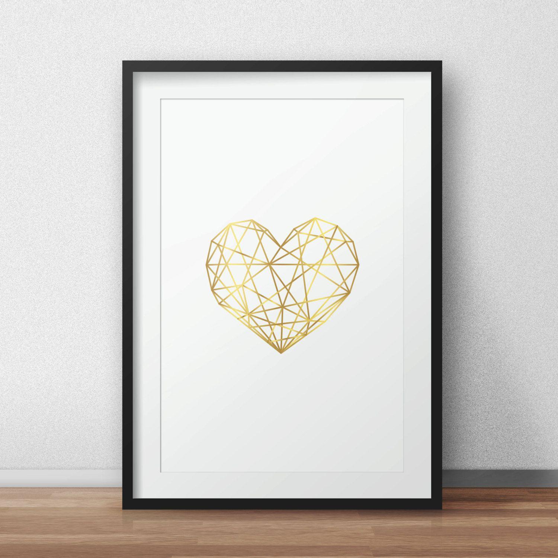 Gold Heart Geometric Heart Modern Heart Gold Artwork Gold Heart Print Heart Wall Decor Home Decor Pink Wa Geometric Heart Heart Wall Decor Pink Wall Art