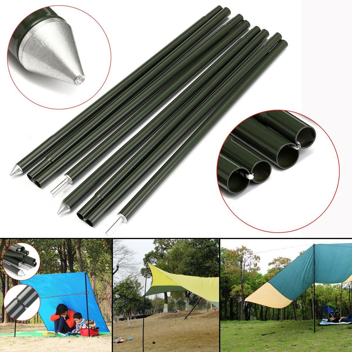 2x2m C&ing Awning Tent Poles Rod Bar Outdoor Tool Aluminum Alloy Replacement  sc 1 st  Pinterest & 2x2m Camping Awning Tent Poles Rod Bar Outdoor Tool Aluminum Alloy ...