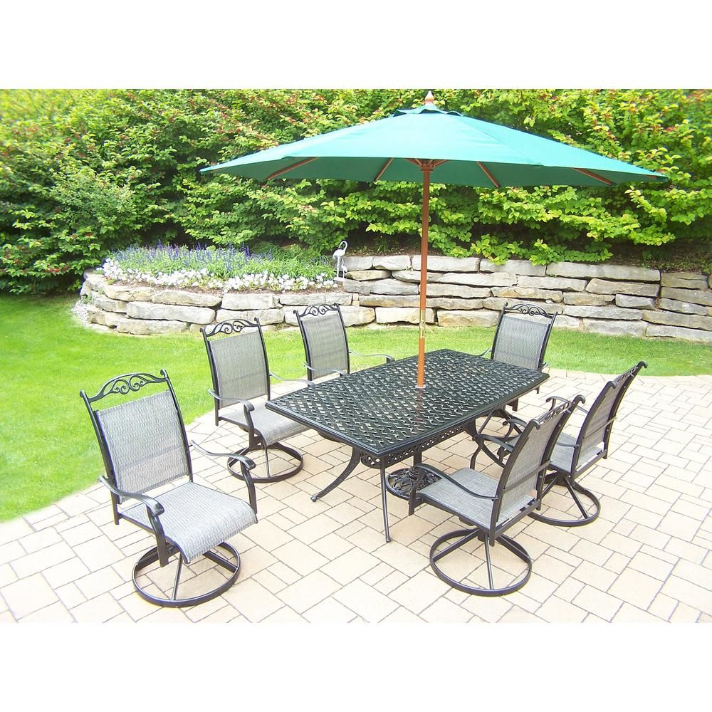 Outdoor dining sets with umbrella Round Wicker Dining 9piece Aluminum Outdoor Dining Set And Green Umbrella Big Lots 9piece Aluminum Outdoor Dining Set And Green Umbrella In 2018