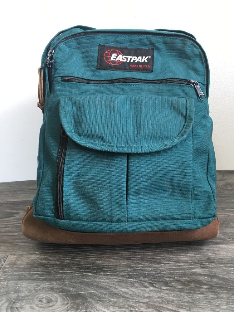 bdbfe52c31 Eastpak Backpack Leather Bottom 90s Vtg Book Bag Green Student School USA  EUC!  Eastpak  Backpack
