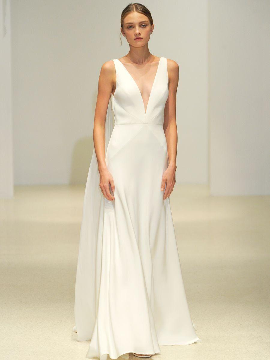 912645604e Jenny Yoo Spring 2019 Bridal Collection  Silk Crepe V-neck Wedding Dress
