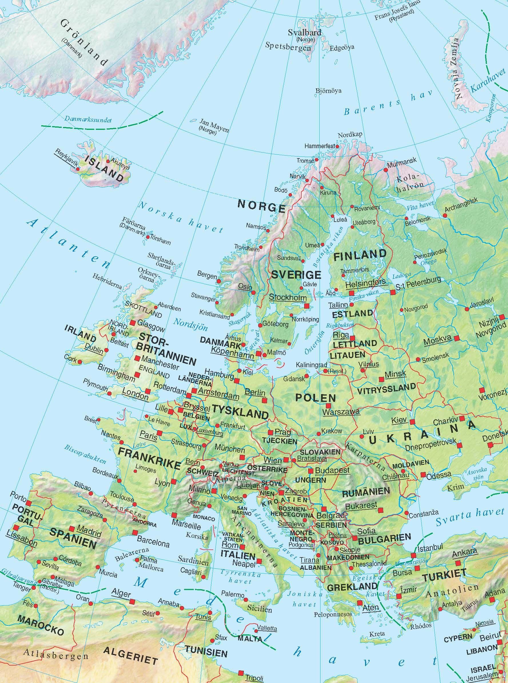 Kartor Europa Sverige Och Varlden Geografi Larare Och Skola