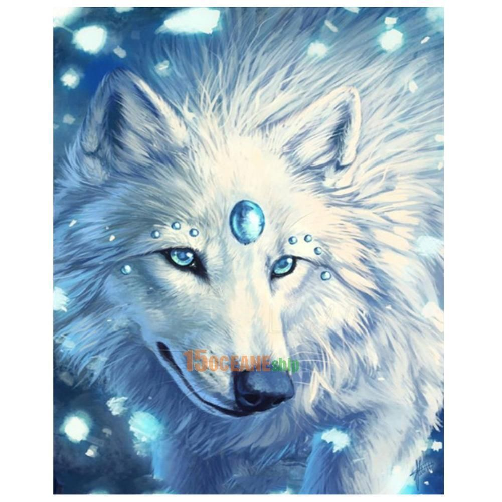 YUMEART DIY Diamond Painting by Numbers Mighty White Wolf Animal Kits Set for Embroidery DMC Cross Stitch Sewing Art Hobbies Crafts