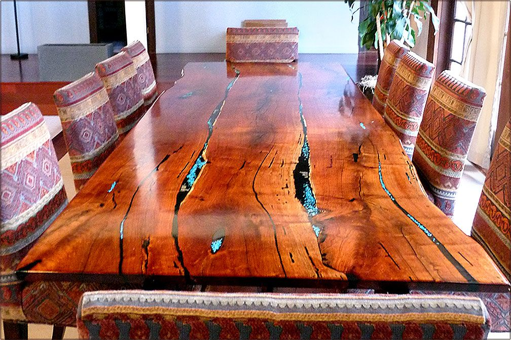 Freeform Mesquite Dining Table with Turquoise Inlay