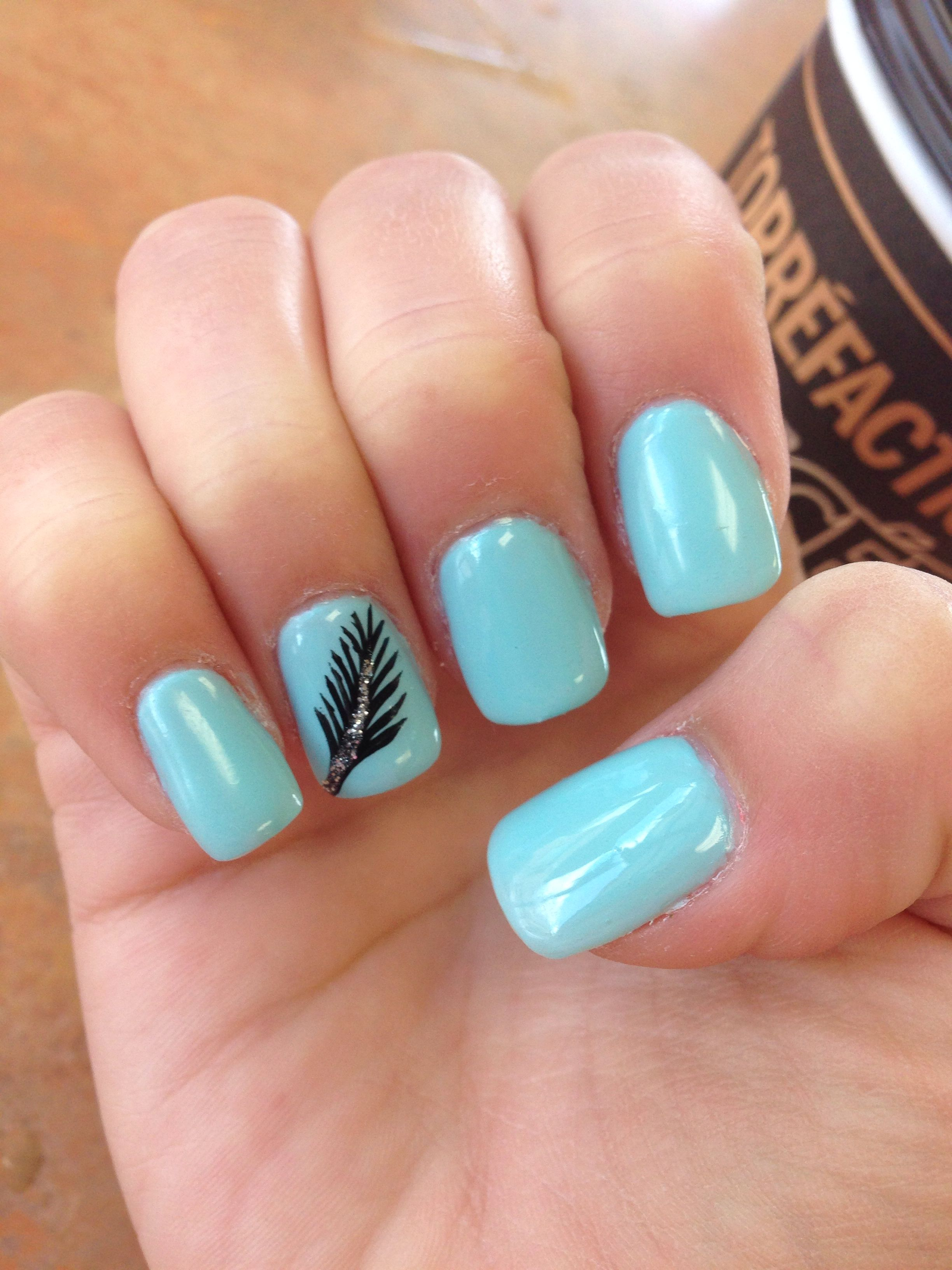 Gel Nails Feather Design Fallwinter Colours Beautiful Nails