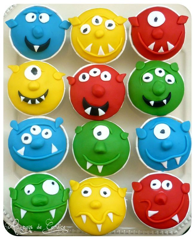 Muffins monstres rigolos au pays de candice g teaux - Images de monstres rigolos ...