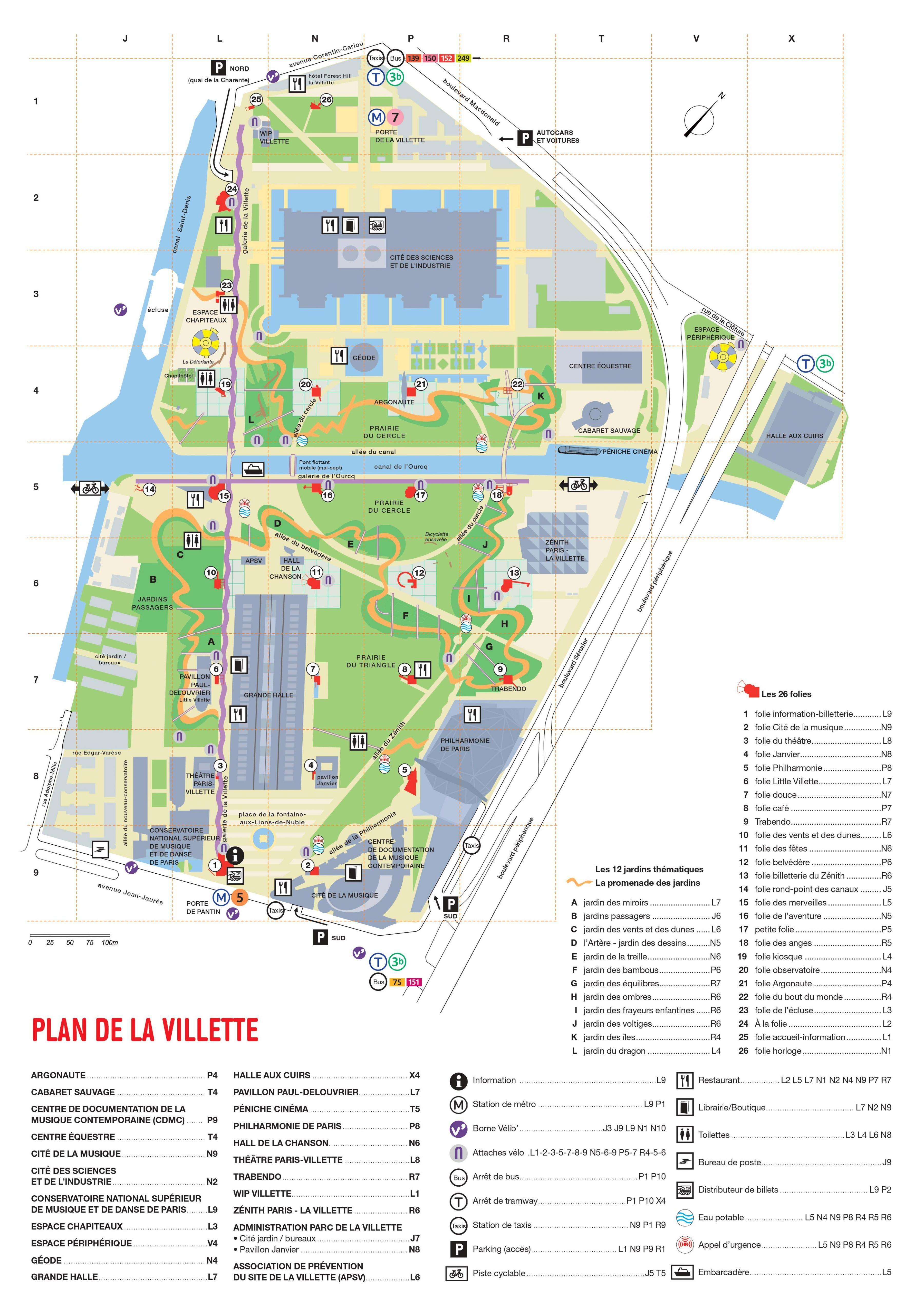 Map of The Parc de la Villette httpmapofpariscomparks