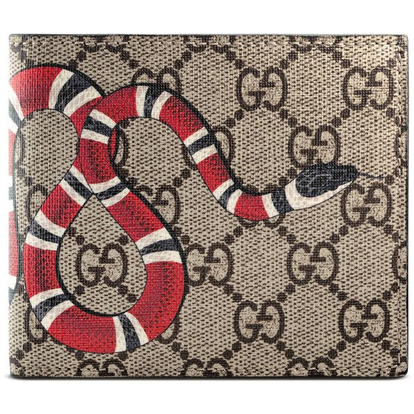 66d68a71267 Gucci Snake Print Gg Supreme Coin Wallet (9.610 CZK) ❤ liked on Polyvore  featuring men s fashion, men s bags, men s wallets, beige, mens bifold  wallet, ...